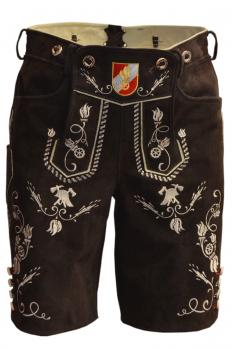Herren Feuerwehr Lederhose Kurz,Stick beige,handgefertigte Trachtenlederhose